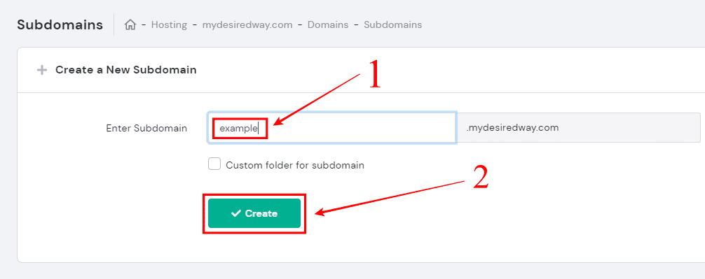 Create, Subdomain, Hostinger